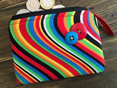 70s Makeup Styles (Handmade 70's style retro fabric coin / card purse / wallet / small makeup)