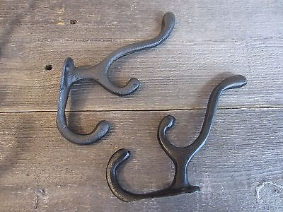 8 Cast Iron School Black Hooks Coat Hat Hall Tree Rack Triple Vintage Wall Hooks 6
