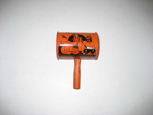 Vintage noisemaker, Halloween, US Metal Toy Mfg, nice graphics!!