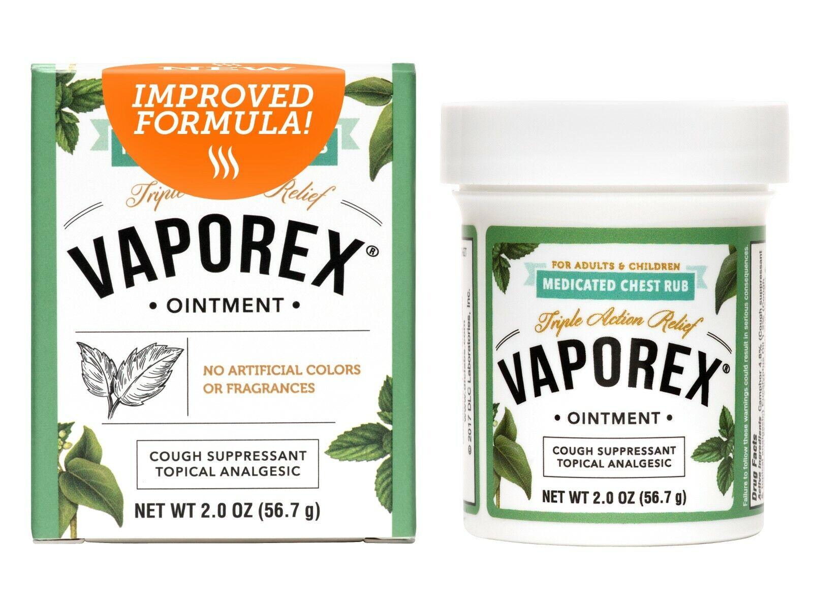 Vaporex Medicated Chest Rub- Camphor, Menthol, USA Made 2 OZ  Exp 8/21 (3 BOXES) 1
