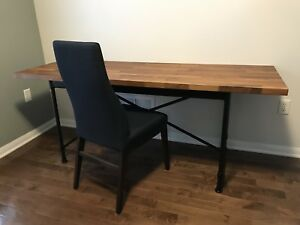 Black Iron Pipe Desk with solid Walnut Top