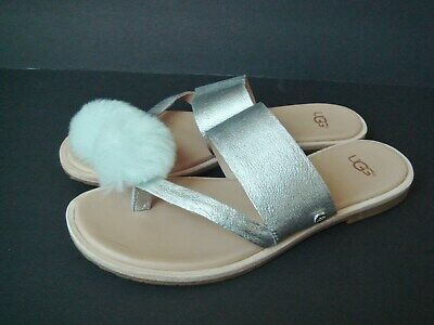 NEW UGG 6 Silver Puff Ball Leather Flip Flop Sandal Shoes -