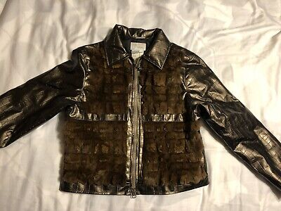 GIANNI VERSACE YOUNG VINTAGE RABBIT FUR TRIMMED Polyester JACKET SIZE XSMALL