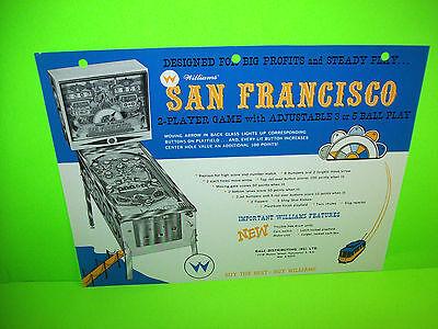 Williams SAN FRANCISCO 1964 Original Pinball Machine Flipper Game Flyer RARE