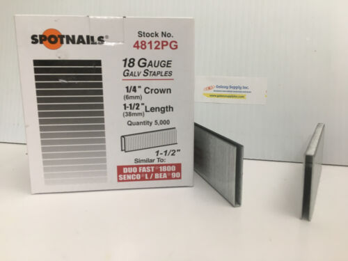 "Spot Nails 4812PG L/90 18 Gauge 1/4"" Crown,1-1/2"" leg. 5M/B. 2B/C. Sale By 2 BOX"