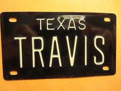 Vintage 1960's TEXAS TRAVIS Mini Bike Vanity Name Black Metal License Plate for sale  Olmsted Falls
