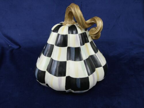 """Mackenzie Childs 10"""" Tall Hand-Painted Courtly Checked Pumpkin"""