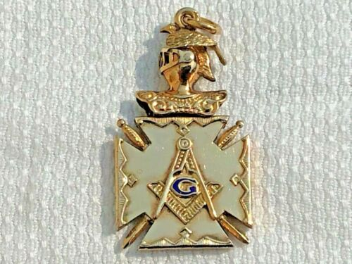 MASONIC WATCH FOB GOLD FILLED 1915-35 ENAMELLED NEVER WORN OLD STORE STOCK