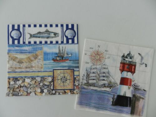 2 (Two) Single Lunch Paper Napkins Decoupage Craft Lighthouse Sea Ocean Ship