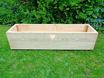 Long Handmade Wooden Planter with Cut Out Heart.Rustic Heavy Duty- Unique!