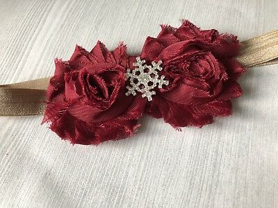 Christmas Baby's First Snowflake Winter Headbands Toddler Baby Headband Burgundy - Snowflake Headbands