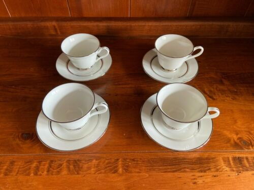 Oxford LENOX Bone China Lexington Set of 4 Coffee Tea Cups and Saucers