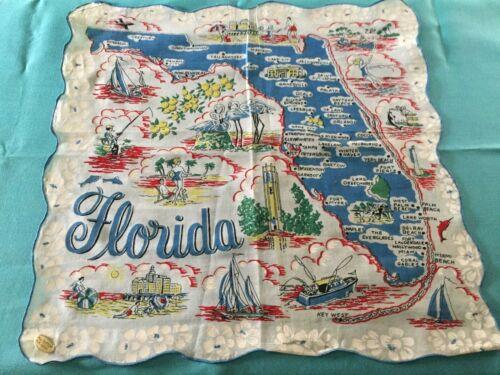 "VTG FLORIDA STATE MAP COTTON HANDKERCHIEF W/LABEL 13.4"" SQ BLUE SCALLOPED EDGE"