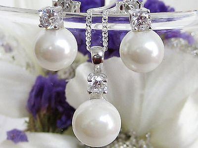 Schmuckset 925 Silber Ohrringe Anhänger Kette Perlen Weiß Perlenset mit Zirkonia