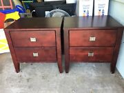 Dark wood matching pair bedside tables West End Brisbane South West Preview