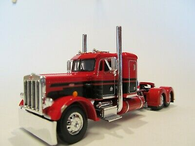 DCP FIRST GEAR 1/64 SCALE 359 PETERBILT SMALL BUNK, RED & BLACK SEMINOLE STRIPE