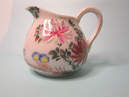 Antique Floral Porcelain Hand Painted Cream Pitcher, Gold Highlights, 2.75 inch
