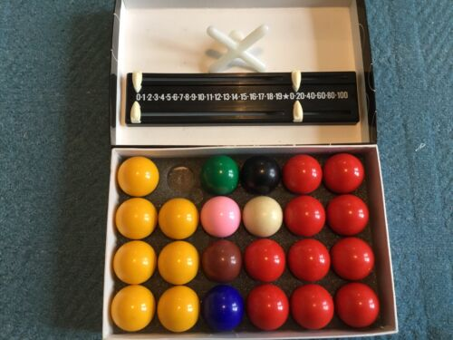 Boxed Set Of 23 Snooker and Pool Balls, 1 1/2 Inch, Plus Score Keeper And Rest