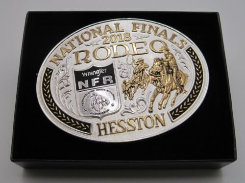 National Finals Rodeo 2018 Hesston Gold & Silver Two-Toned Adult Belt Buckle