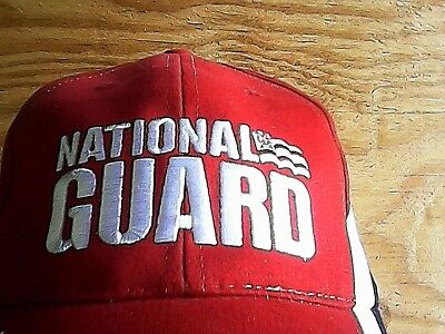 GUARD NATIONAL RED WHITE BLUE HAT CAP ARMY BASEBALL US MILITARY EMBROIDERED  Guard White Hat