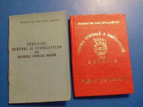 2X Romania Communist Sindicate Union ID booklet dated 1981 & 1958