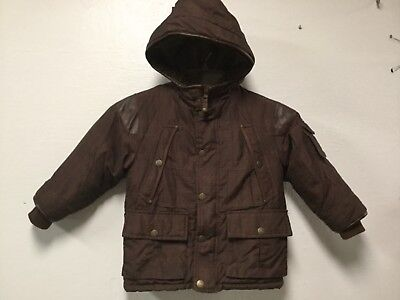 Boys Cold Weather Jacket Size 5 Brown Faux Fur Trim Pockets OshKosh 25