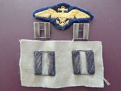 WWII Navy Aviation Pilot Patch Sterling Rank Bullion Officer Pin Military USN LT