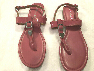 Coach Cassidy Pink Patent Leather T-Strap Sandals Sz 10B Originally $145 Shoes Patent Leather T-strap Sandals