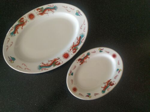 2 Vintage RED DRAGON RESTAURANT WARE PLATTERS CHINESE FOOD OVAL PLATTER PLATE
