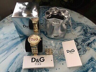 Sehr Schöne Damen D&G Dolce Und Gabbana Uhr The Time Gold Rot Diamanten Armband