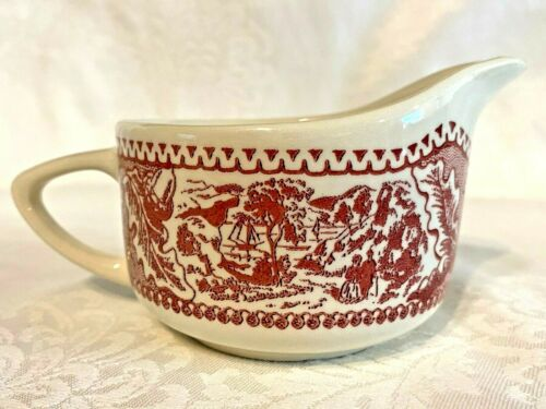Antique Red Transferware Creamer Pitcher - Oak Leaves Acorns and Scenery