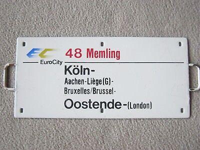 """Zuglaufschild, Metall, Miniatur, """"EC 48 Memling """"Köln - Oostende - (London)"""