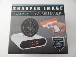 Sharper Image Laser Target Alarm Clock White New