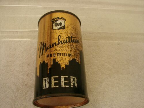 MANHATTAN PREMIUM 12 OZ. FLAT TOP BEER CAN O/I IRTP NO TOP LID SCARCE CHICAGO IL