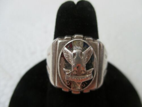 Vintage Sterling Silver Boy Scouts of America Eagle Mens Art Deco Ring