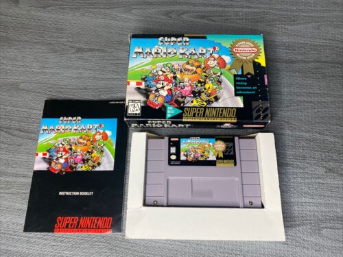 Super Mario Kart Super NES, SNES, 1992 TESTED - With Box And Manual - $79.99