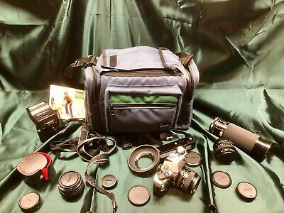 Canon AE-1 Program COMPLETE Camera Kit with many EXTRAS!