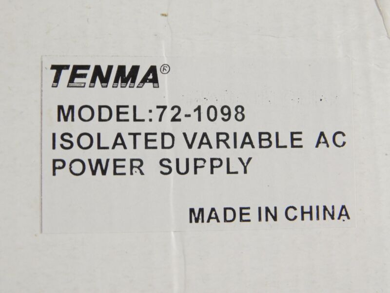Tenma 72-1098 Isolated Variable AC Power Supply (new in box)