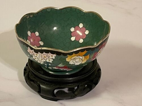 Japanese Cloisonne Bowl Silver Rim - Signed