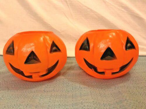 "Set of 2 Vintage 1960s Pumpkins Bayshore Plastic Candy Pail Buckets Blow Mold 5"""
