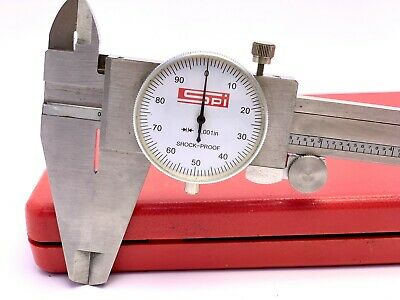 17-975-4 Spi Dial Caliper 12 White Face Excellent Condition Calibrated Wcase