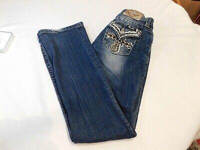 Jeweled Damen Jeans (Miss Me Jeans Damen Jeans 27 Unterschrift Stiefel Gebrauchte Jeweled Fehlender)