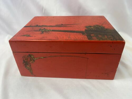 Chinese Red Lacquered Box With Wooden Mah-Jong Pieces