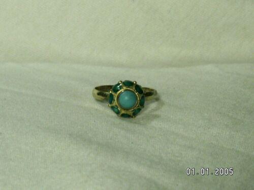 ...Vintage/Antique Gold Sterling Silver, Green Enamel, Turquoise Ring...