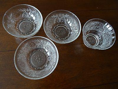 Set of 4 ANCHOR HOCKING Sandwich Glass Clear Dessert Bowls & Fruit Cup