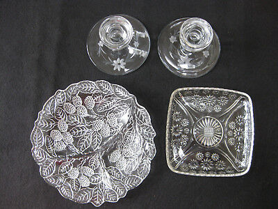 "4pc Lot vintage 9"" relish dish 6 "" sq dish pressed glass pr etched candle holdrs"