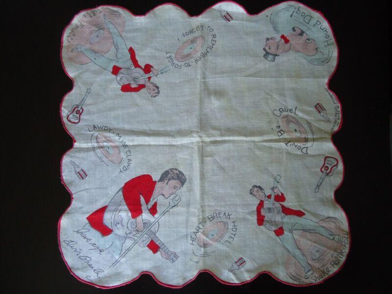 VINTAGE ELVIS PRESLEY ENTERPRISES Handkerchief 1956 Red Border 13 in