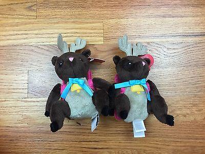 Reindeer Holiday Plush Christmas Deer W/ Backpacks Small Stocking Stuffers NWT