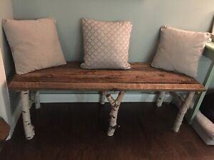 Barnboard and birch bench/ coffee table