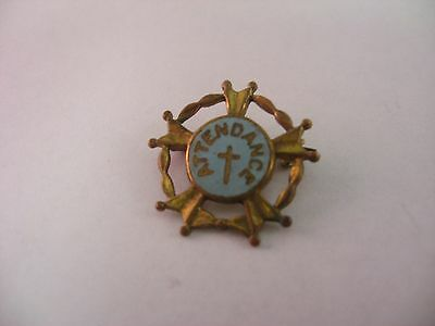 Antique Vintage Blue Enamel ATTENDANCE Religious Cross Pin